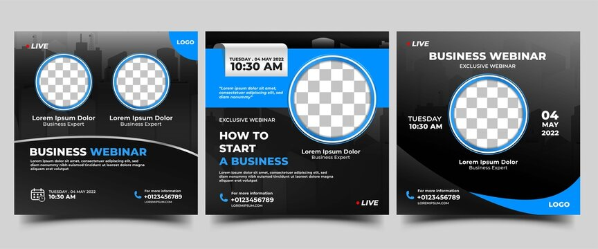 Business live stream social media post template. Modern promotional square banner.