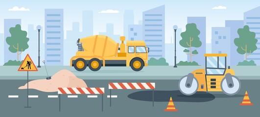 Fototapeta Road works. Pavement repair with asphalt roller, concrete mixer and street barriers. City roads maintenance service machines vector concept obraz