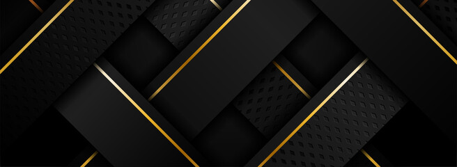 Fototapeta Abstract Black and Golden Lines Combination Background Design. obraz