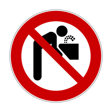 Do not use drinking fountain. Vector illustration of not drinkable water. Red crossed out circle prohibition sign with man drinking water from faucet icon inside. No water symbol. Not in service.