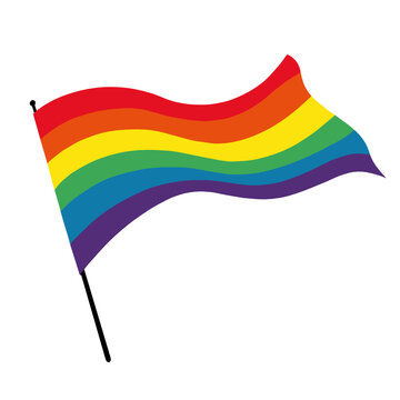 Illustration of a Rainbow Pride flag blowing in the wind.