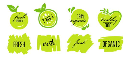 Fototapeta Fresh eco healthy bio organic vegan food logo labels and tags. Vector eco green concept logos or signs illustration. Vector logo for vegetarian organic food. obraz