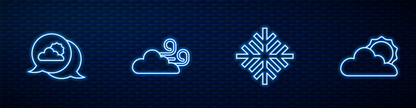 Set line Snowflake, Location cloud, Windy weather and Sun and. Glowing neon icon on brick wall. Vector