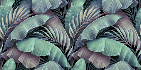 Fototapeta Tropical exotic seamless pattern. Beautiful palm, banana leaves. Hand-drawn vintage 3D illustration. Glamorous abstract jungle background design. For luxury wallpapers, cloth, fabric printing, goods obraz
