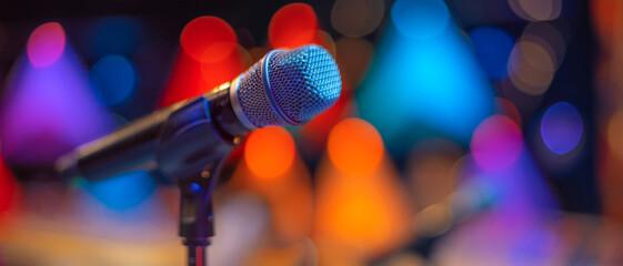 Fototapeta microphone on stage obraz
