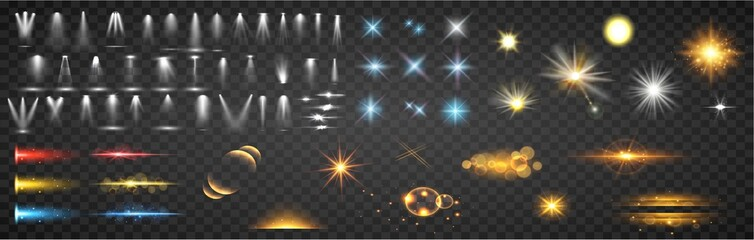 Fototapeta Set of magic light effects. Magical sparks, stars and particles. Set of spotlight, Realistic Lens Flare Elements Collection. obraz