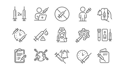 Obraz Vaccine line icons. Corona jab, Medical Syringe, Vaccination passport icons. Covid vaccine, Human jabbed and Coronavirus dose. Syringe needle, Corona injection, Vaccination notification. Vector - fototapety do salonu
