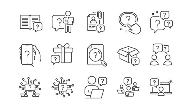 Questions line icons. Artificial Intelligence computer, phone with Question mark, Problem solve. Quiz, faq guide, job interview line icons. Ask person, question chat bubble. Linear set. Vector