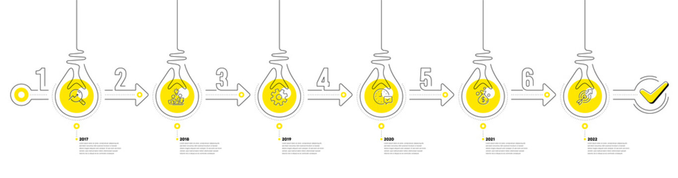 Infographic timeline with lamp light bulbs icons. 6 steps idea journey path concept of business project process. Infographic path timeline. Business journey money goal. Continuous line bulbs. Vector