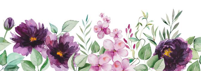 Obraz Watercolor purple flowers and green leaves seamless border illustration - fototapety do salonu