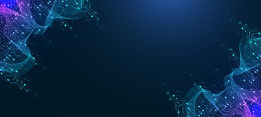 Fototapeta Modern technology circuit board texture background design. Quantum computer technologies concepts, large data processing. Futuristic blue circuit board background. Minimal vector motherboard obraz