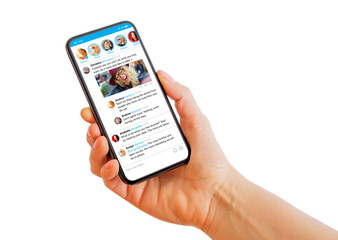 Obraz Person holding mobile phone in hand with sample social media microblogging app on the screen - fototapety do salonu