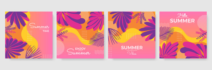 Trendy summer colourful abstract square art templates with floral tree and geometric elements. Suitable for social media posts, mobile apps, banners design and web/internet ads. Fashion backgrounds.