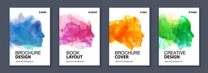 Fototapeta Watercolor booklet colourful cover bundle set with head profile silhouette obraz