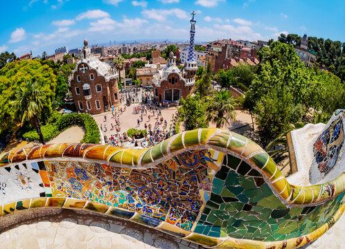 Parc Guell, famous park designed by Antoni Gaudi, UNESCO World Heritage Site, Barcelona, Catalonia