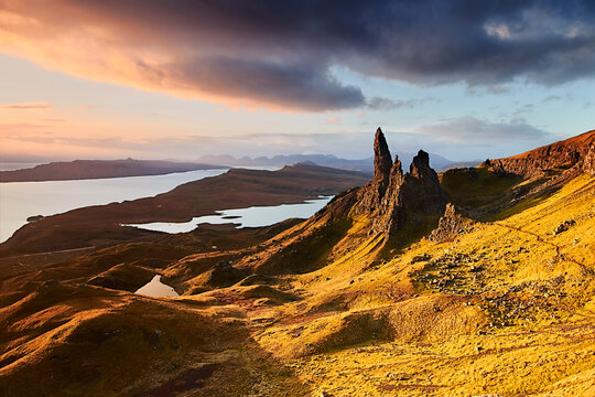 Old Man of Storr at a golden sunrise, Isle of Skye, Inner Hebrides, Scotland, United Kingdom