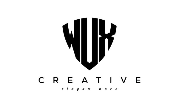 WUX letters creative logo with shield