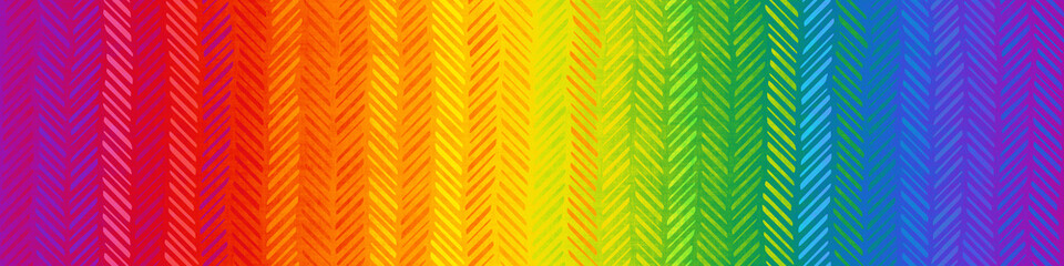 Grunge seamless texture with chevron pattern, rainbow color, banner, 3d illustration