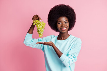 Photo portrait of girl showing sweet grape keeping diet wearing casual clothes isolated on pastel pink color background