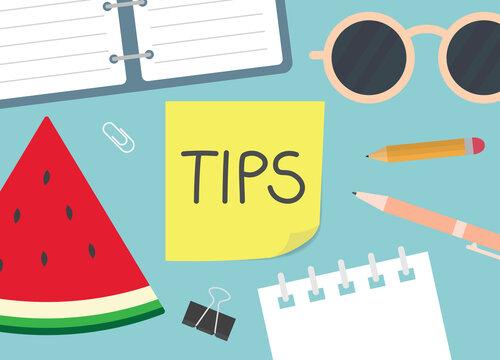 tips word written on yellow sticky note- vector illustration