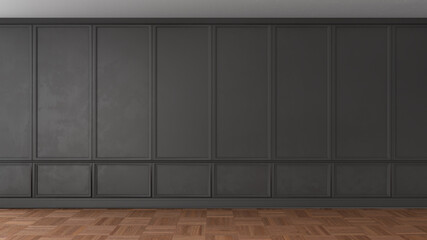 3D render of a classic interior decorated in black color and parquet. 3d illustration
