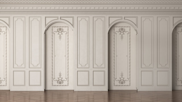 3D render of a classic interior wall decorated in warm color with parquet and arched openings. 3d illustration