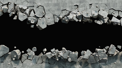 Destroyed wall cracked on two parts with a hole in the middle, 3d illustration