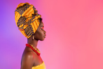 Obraz Profile side photo of stunning afro american lady look empty space wear traditional outfit isolated on glow background - fototapety do salonu