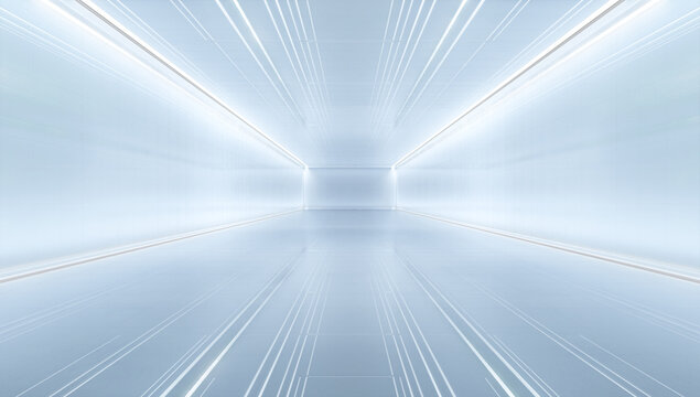 uturistic tunnel with light. Abstract Spaceship corridor. Future interior background, sci-fi science concept. 3D rendering