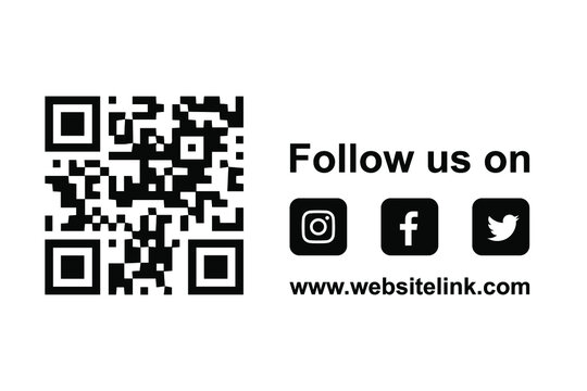 follow us on facebook instagram twitter and scan qr code. flyer banner design graphic elements with social media icons