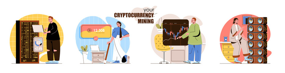 Cryptocurrency mining concept scenes set. Bitcoin mining farms, digital money technology, trade on market currency. Collection of people activities. Vector illustration of characters in flat design