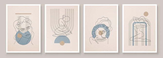 Fototapeta Abstract composition art with nude female silhouette in sunrise or sunset. Earth tones colors wall art decor. Soft color painting boho style background. Minimalistic background. Vector illustration. obraz