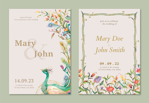 Editable Watercolor Peacocks and Flowers Invitation Card Layout