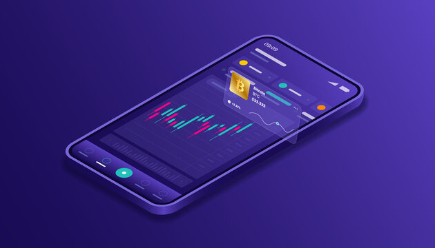 Cryptocurrency, bitcoin, blockchain, mining, technology, internet IoT, security, mobile dashboard isometric 3d illustration vector design cpu computer