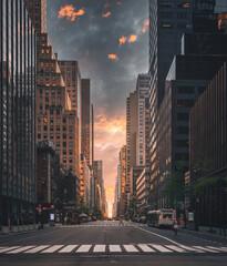skyline van de stad Strett verfraaien scène mensen horizon hemel wolken gebouwen wolkenkrabber usa New York