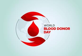 Obraz World Blood Donor Day vector illustration. Blood donation awareness poster design. Hemophilia or blood cancer day concept. World Blood Donor Day vector background. Awareness poster with red drop. - fototapety do salonu