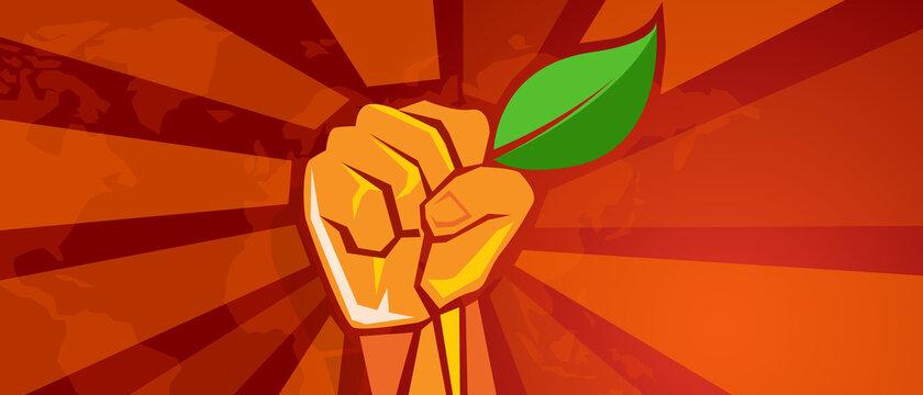 ecology environmental revolution leaf green demonstration movement hand holding leaf