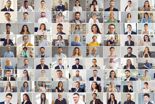 Collage of happy multicultural business people. Human face database. A collection of portraits of images of men and women in one image.Businesswoman and businessman collage.