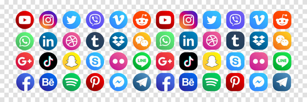 MAGELANG, INDONESIA - MAY 25, 2021: Set popular social media icons. Facebook, instagram, twitter, youtube, pinterest, behance, google plus, linkedin, whatsapp, snapchat and many more. Editorial vector