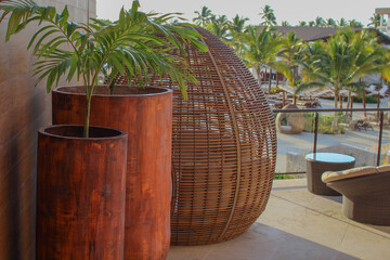 Obraz ładne kolorowe donice z liśćmi palmy i kosz do relaksu na tle palm na karaibskim wybrzeżu Dominikany - fototapety do salonu