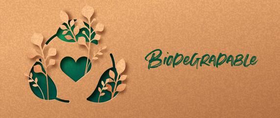 Obraz Biodegradable green paper cut leaf symbol banner - fototapety do salonu
