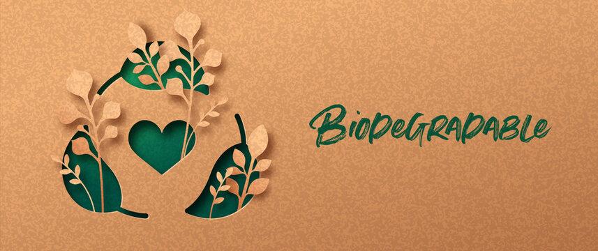 Biodegradable green paper cut leaf symbol banner