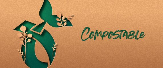 Obraz Compostable green nature papercut banner concept - fototapety do salonu