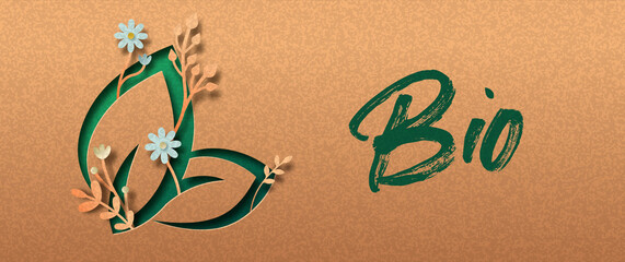 Fototapeta Green bio leaf paper cut nature symbol banner obraz