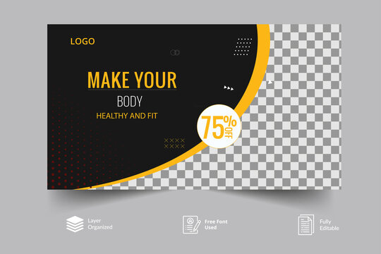 Modern Editable gym and fitness training, exercise   Youtube video thumbnail design for any kind of videos customizable video thumbnail design concept video cover pic template fully editable.