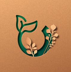 Obraz Organic food green papercut icon concept isolated - fototapety do salonu