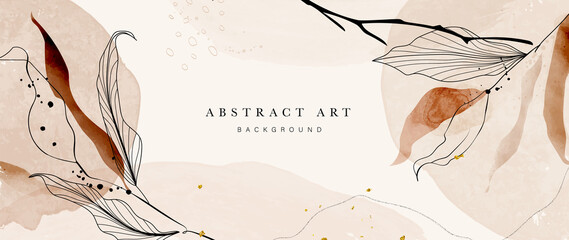 Fototapeta Abstract art botanical pink background vector. Luxury wallpaper with pink and earth tone watercolor, leaf, flower, tree and gold glitter. Minimal Design for text, packaging, prints, wall decoration. obraz