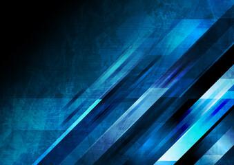 Obraz Dark blue grunge tech geometric abstract background. Vector graphic design - fototapety do salonu