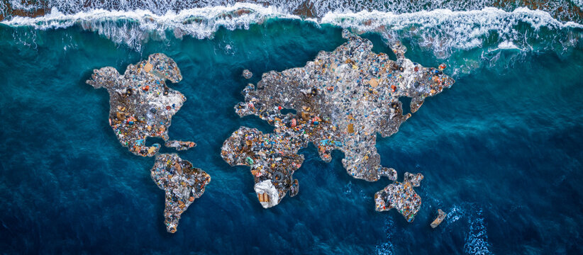 Concept environmental with plastic pollution ocean and human waste. Continents earth are made up of garbage, surrounded by water