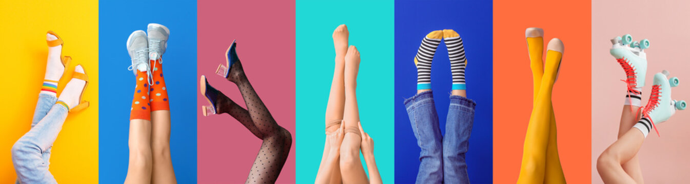 Legs of young woman in socks and sandals on color background